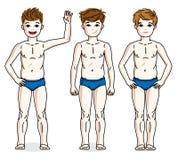 Nette glückliche Jungen des jungen jugendlich, die in der blauen Unterwäsche aufwerfen Vektortauchen Lizenzfreie Stockbilder