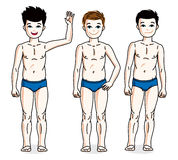 Nette glückliche Jungen des jungen jugendlich, die in der blauen Unterwäsche aufwerfen Vektortauchen Stockfotos