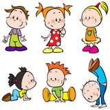 Nette glückliche Karikatur-Kinder Stockfotos