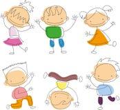 Nette glückliche Karikaturgekritzelkinder Stockfoto