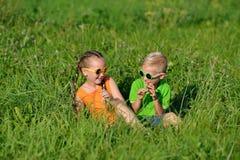 Nette glückliche Kinder in den Sonnenbrillen, die Spaß im Gras draußen haben Stockbilder