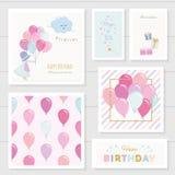 Nette Glückwunschkarten für Mädchen mit Funkelnelementen Enthaltenes nahtloses Muster mit bunten Ballonen watercolor stock abbildung