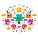 Nette Häuser, Baum, Sonne, Pilze, Blumen und Wolkenkinderkarikatur vector Illustration Lizenzfreies Stockbild
