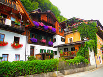 Nette Häuser in den Blumen Stockfotografie