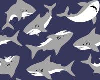 Nette Haifische auf dunkelblauem Hintergrund vektor abbildung