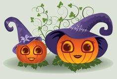 Nette Halloween-Kürbise Mutter und Kind Lizenzfreie Stockfotos