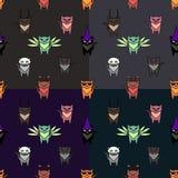 Nette Halloween-Katzen eingestellt mit verschiedenen Hintergründen vektor abbildung
