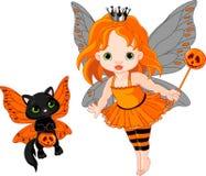 Nette Halloween-Schätzchenfee und -katze Lizenzfreie Stockfotografie