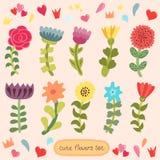 Nette Hand gezeichnete Blumen eingestellt Stockfoto