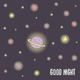 Nette Hand gezeichnete Postkarte des Gekritzels gute Nacht Lizenzfreie Stockfotografie