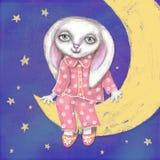Nette Hand gezeichnete schöne Karte mit Häschen, das, sitzend in den Pyjamas und in den Pantoffeln auf Halbmond Stockbilder