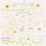 Nette Hand gezeichnete Sommerzeitsammlung Stockfoto