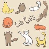 Nette Hand gezeichnete Vektorkatzen Lizenzfreie Stockfotos