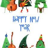 Nette Hand gezeichneter Aquarellkarikatur Weihnachtsbaum, lokalisiert auf weißem Hintergrund Lizenzfreie Stockfotos