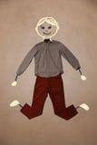 Nette Hand gezeichneter Charakter in der zufälligen Kleidung Stockbild