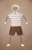 Nette Hand gezeichneter Charakter in der zufälligen Kleidung Stockbilder