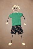 Nette Hand gezeichneter Charakter in der zufälligen Kleidung Stockfoto
