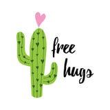 Nette Hand gezeichneter Kaktusdruck mit inspirierend Zitat Lizenzfreie Stockfotos