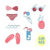 Nette Hand gezeichneter Sommersatz Elemente Vektorabbildung auf weißem Hintergrund Lizenzfreies Stockbild