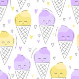Nette Hand gezeichnetes nahtloses Muster der Eiscreme Süßer Lebensmittelvektorhintergrund Köstliches Sommerdesign Verpackung, Dru Stockfoto