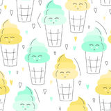 Nette Hand gezeichnetes nahtloses Muster der Eiscreme Süßer Lebensmittelvektorhintergrund Köstliches Sommerdesign Verpackung, Dru Stockbilder