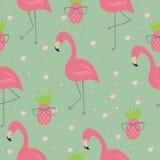 Nette Hand gezeichnetes nahtloses Muster mit rosa Flamingo Weihnachtsmann in einer Schutzkappe, in den Kopfhörern, mit einem Weih Lizenzfreie Stockfotos