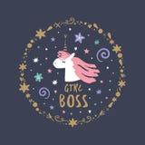 Nette Handgezogenes Einhorngesicht Allein gefrorener Baum Gut für Mädchendrucke, Geburtstagseinladungen, Karten Nachtzeit, Sternr stock abbildung