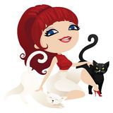 Nette Hauswirtinkatzen in der Karikaturart Stockfotografie