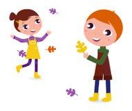 Nette Herbst Kinder getrennt auf Weiß Stockfotos