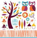 Nette Herbsteulen und -Gestaltungselemente lizenzfreie abbildung