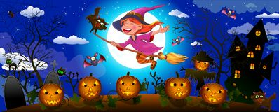 Nette Hexe Halloweens auf einem Besen stockfoto