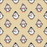 Nette Hippie-Pinguin-nahtloser Hintergrund Stockbild