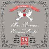 Nette Hochzeitseinladung Blumeneinzelteile und Karikaturtauben weinlese Stockbild