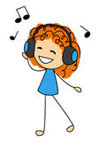 Nette hörende Musik des kleinen Mädchens Lizenzfreie Stockfotografie