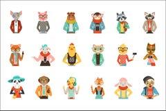 Nette humanisierte Kleidung der Tiere in Mode stellte von Vektor Illustrationen ein stock abbildung