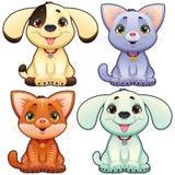 Nette Hunde und Katzen. Lizenzfreie Stockfotografie