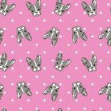 Nette Hundegesichts-Karikatur-nahtlose Wiederholung auf rosa Tupfenhintergrund Stockfotografie
