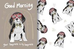 Nette Hundehand gezeichnet mit Mustern vektor abbildung