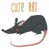 Nette Ikone der schwarzen Ratte der Vektorkarikatur Stockbilder