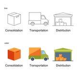 Nette Ikone eingestellt für logistisches Lizenzfreie Stockbilder
