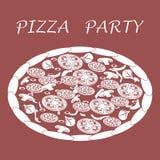 Nette Illustration der geschmackvollen, appetitanregenden Pizza mit Aufschriften Lizenzfreies Stockbild