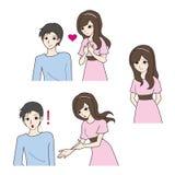 Nette Illustration des Jungen und des Mädchens Stockfotografie