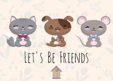 Nette Illustration mit Babymaus, Hund, Katze Stockfotos