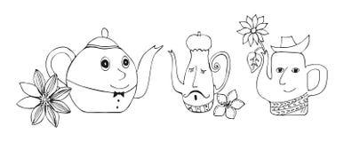 Nette Illustration von Unterhaltungsteekannen mit Blumen Stockfotos