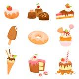 Nette Illustrationen von verschiedenen Bonbons und von Kuchen Lizenzfreies Stockbild