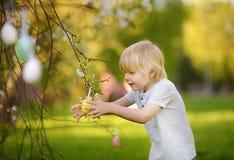 Nette Jagden des kleinen Jungen für Osterei auf Niederlassung des blühenden Baums lizenzfreie stockfotografie