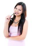 Nette junge Frau mit Brillen Stockfoto