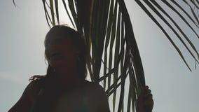 Nette junge hübsche Frau, die helle tropische Sonne mit Sonnenaufflackerneffekten in der Zeitlupe berührt die Palme genießt stock video footage