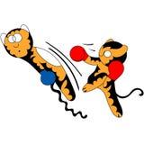 Nette junge Kampfkünste des Vektorkarikatur-Tigerjungen Vektor Abbildung