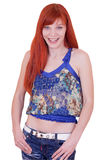 Nette junge rote Haardame lächelndes (0) .jpg Stockfotos